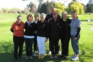 Temuka Golf Championships Ladies caddies - Cathy Manson, Jenny Bollitho, Rae Winkelman, Renee Jones, Willie Twaddle, Caroline Darby, Jan Davenport and Glenis Priddle
